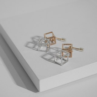 18K Rose Gold X 925 Sterling Sliver Cubic Cube Earrings Valentine's Day Gift