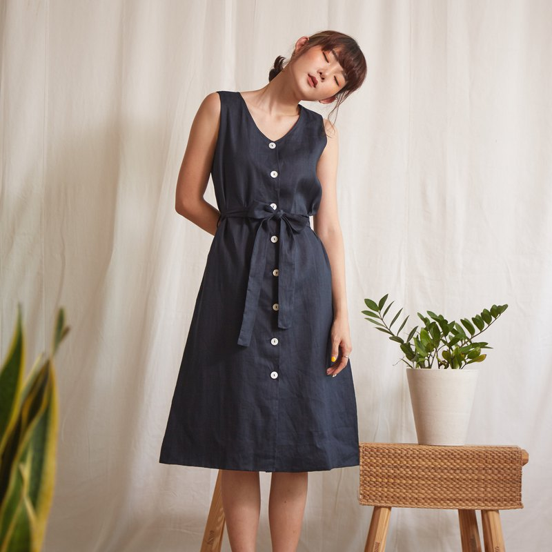 Linen Sleeveless V-Neck Dress in Navy Blue Colour