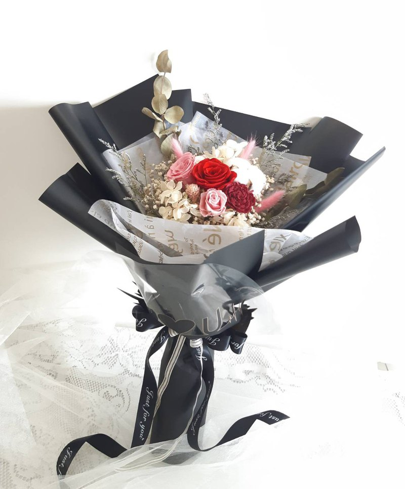 Valentine's Day Large Bouquet I LOVE YOU Non-Withered Rose & Dry Rose Bouquet