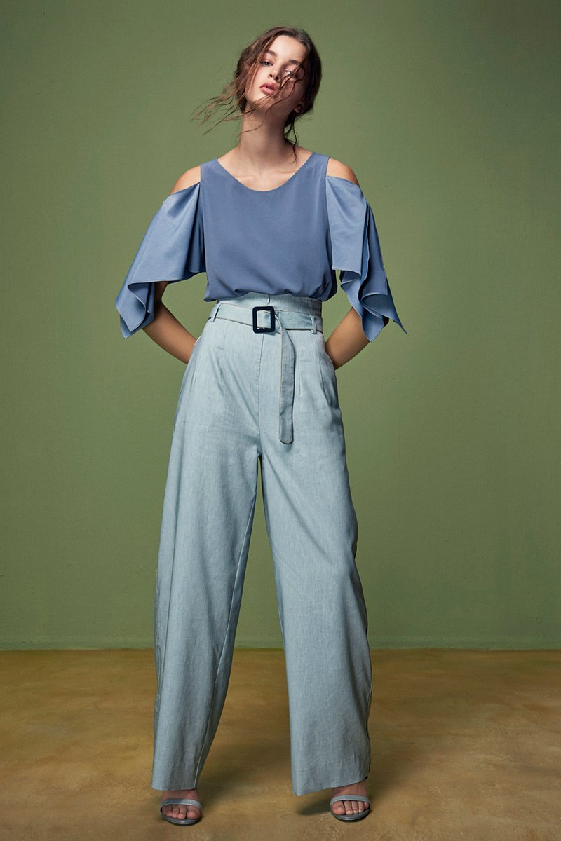 Blue sloping shoulder top