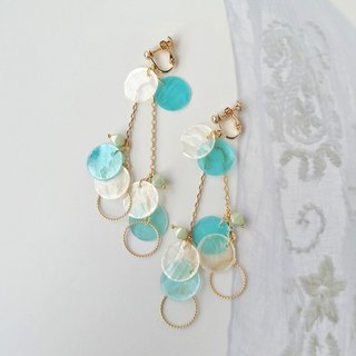 Cream and blue shell Earrings