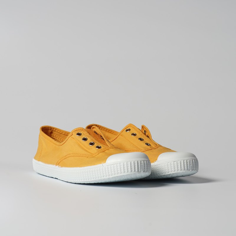 Spanish national canvas shoes CIENTA adult size washed old mustard yellow fragrant shoes 70777 64