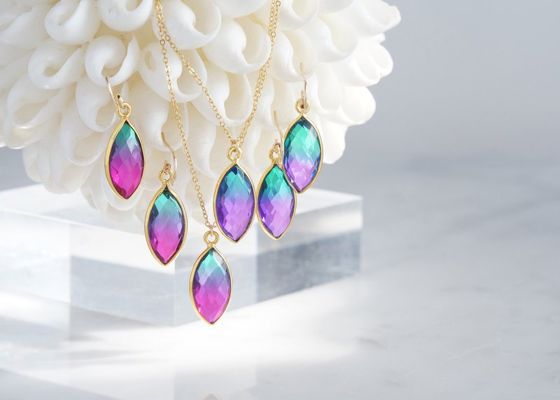 【14 KGF】 Earrings, Aura Quartz, -Purple & Green / Rose Pink & Green-