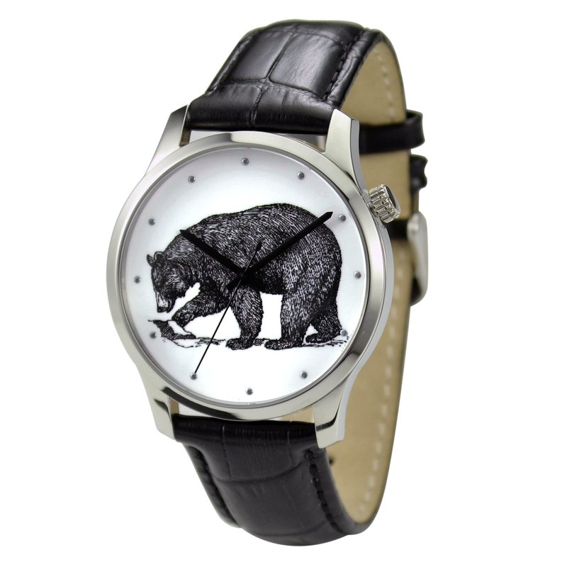 Animal (Bear) illustration Watch Black Big Size Free Shipping Worldwide