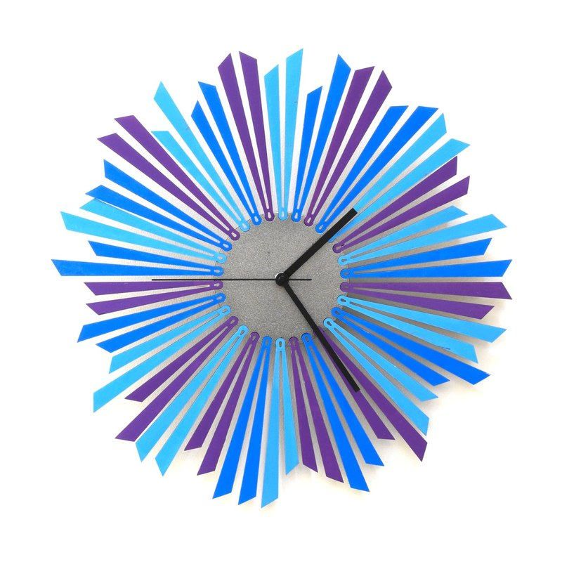 The Moon - 41cm / 59cm stylish blue / purple / silver wooden wall clock