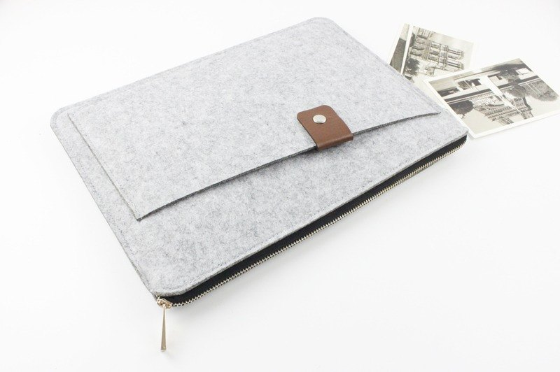 [Customizable] Original handmade light gray felt felt sleeve protective sleeve Apple iPad Pro 12.9 inches plus keyboard cover laptop computer bag iPad Pro iPad 2017 plus keyboard (can be tailored) --052