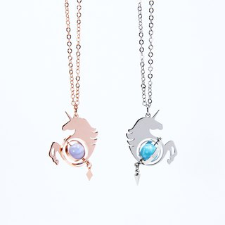 Illusions Unicorn Necklace / Rose Gold & Silver