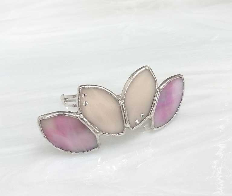 Stained glass Valletta 【Leaf】 Ishitake pink