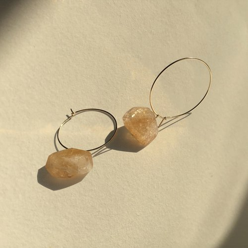 Citrine ring earrings (three wearing method)