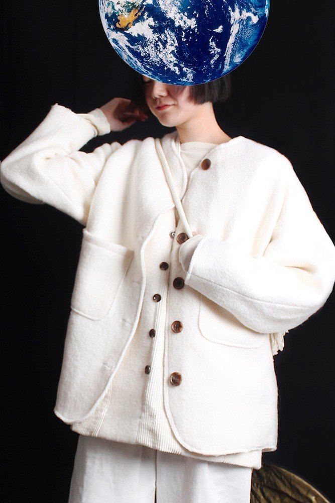 MAODIUL sheep feels fit cut suit cuffs patch design wool coat