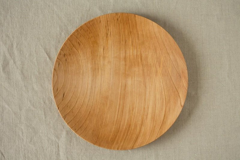 Wood 24cm of the potter's wheel ground wooden plate chestnut (land) 09