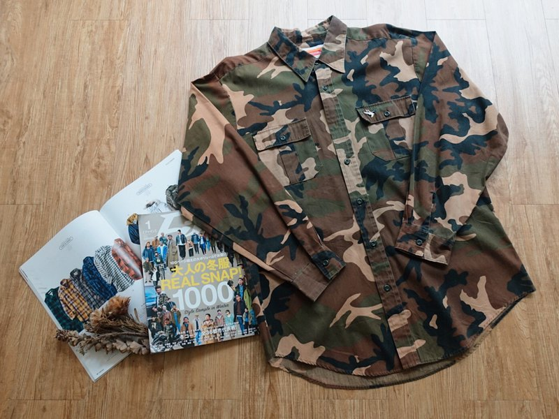 Vintage on / camouflage long-sleeved shirt no.78 tk