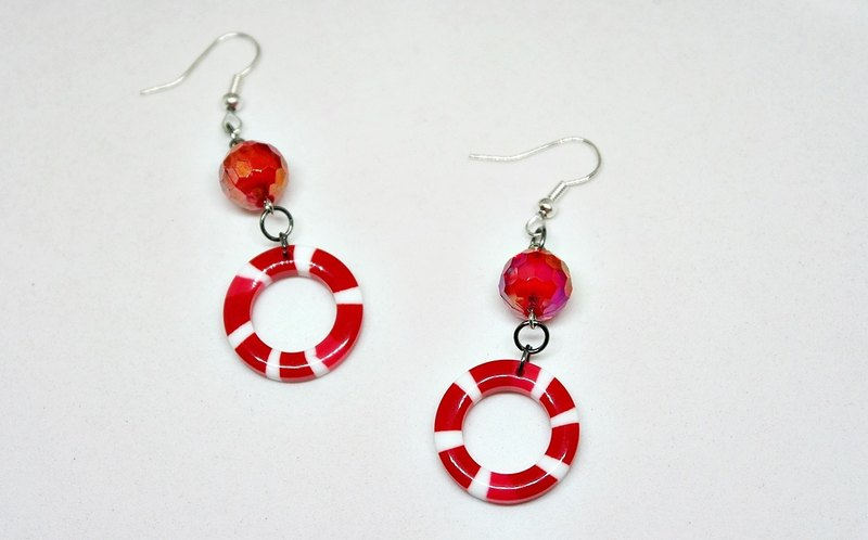 * _ * Red lifebuoy alloy hook earrings