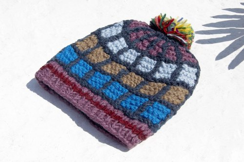 Christmas Gifts Merry Christmas Gifts Limited Kids Hat / Knitted Woolen Woolen Hat / Kids Knitted Sheeps / Inner Brush Hat / Knitted Woolen Hat / Kids Cloth Cap - Nordic Wind Geometric Grid Palette