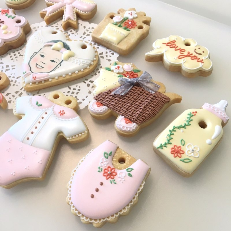 Pink Garden Collection Cookies 12+1 (customizable baby avatar)