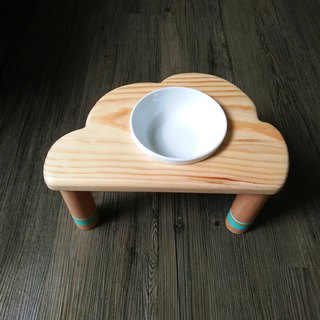 "Mao children's table series--""Tiffin you are not green"" Wood pet table bowl rack"