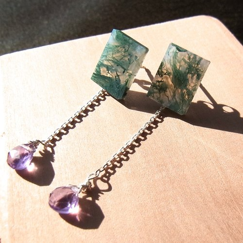 【made-to-order】moss agate and amethyst pierced earrings(SV925)
