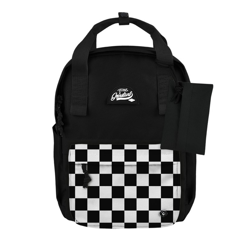 Grinstant mix and match detachable group 13 吋 backpack - black and white series (black with chess board)