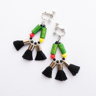 Colorful tassel earring in black and green wooden beads