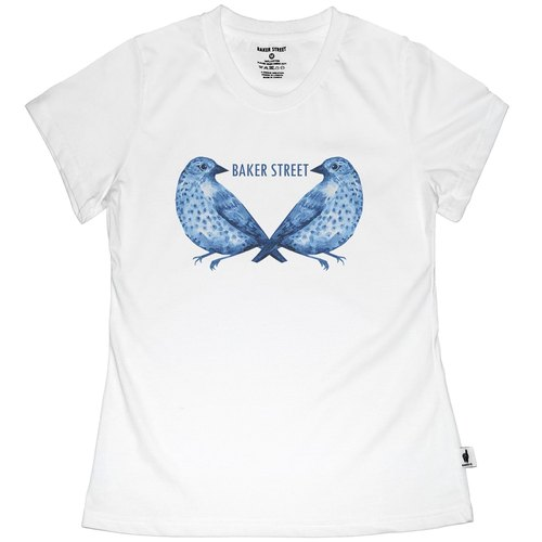 British Fashion Brand [Baker Street] Blue Birds Printed T-shirt
