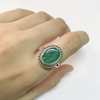 Turquoise Ring Handmade in Nepal 92.5% Silver
