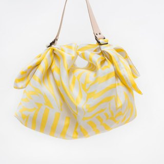 Stripe Yellow Furoshiki and Tan Leather Strap Set
