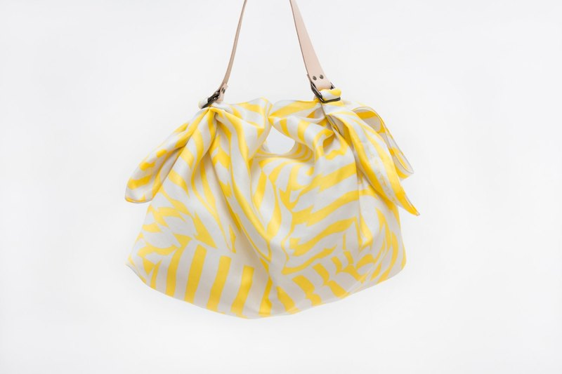 Stripe Yellow Furoshiki & Tan Leather Carry Strap Set