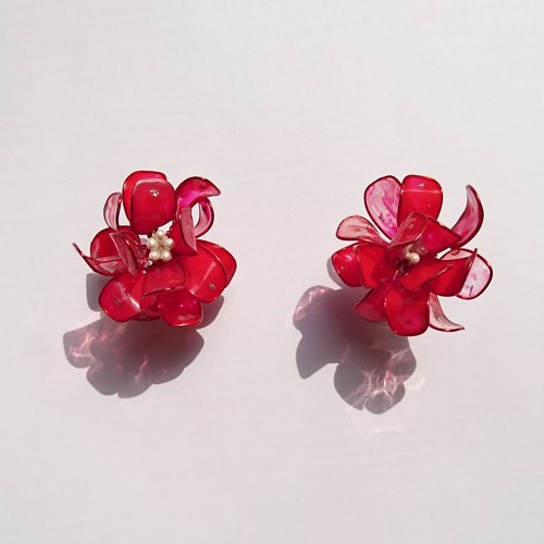 <赤紅>造型手工設計樹脂耳環/耳釘款/earring/accessories