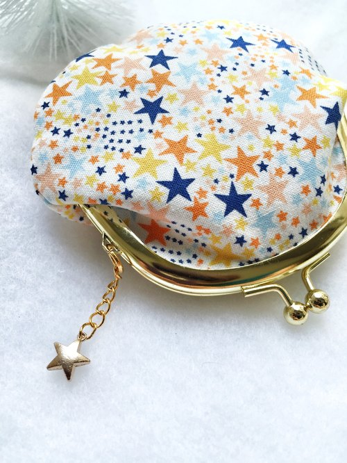 Star wish small mouth gold bag - with small charm