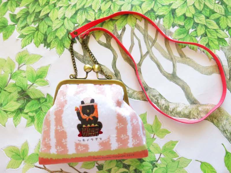 Pink grain peasant woman bear mouth gold bag