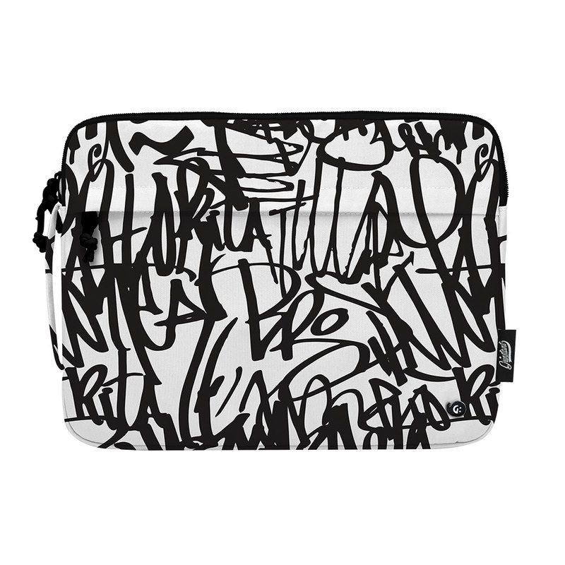 "Grinstant Multicolor Pattern 13"" Laptop Bag - Black and White Series (Black Graffiti)"
