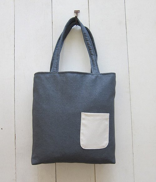 A4 Tote (Medium) -Denim + Outer Pocket (Gray+Creamy-White)