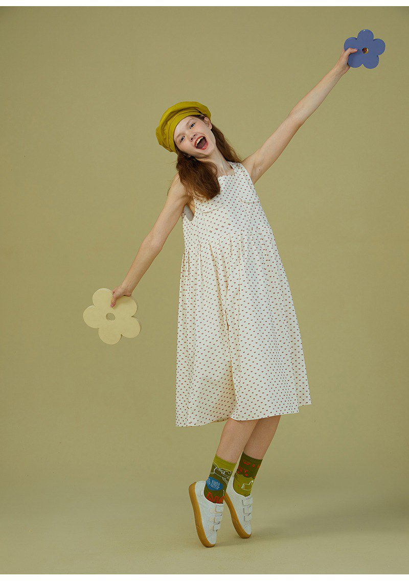 odd maker polka dot beige literary retro small fresh dress