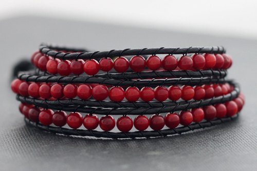 Leather Wrap Bracelets Beaded Coral Bracelet Boho Woven Stone Hipster