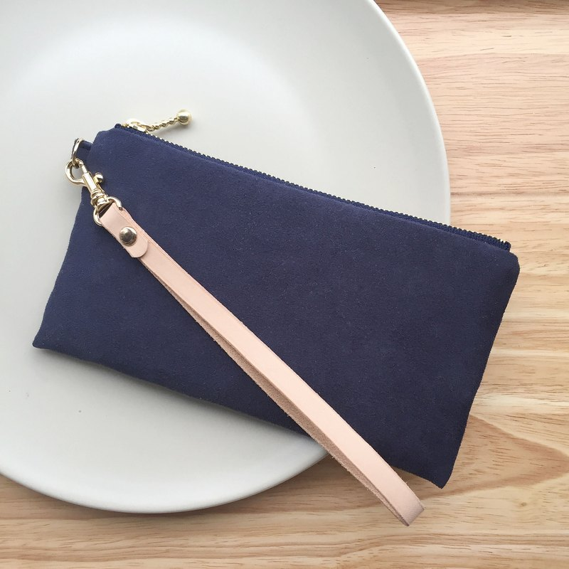 Dark blue - suede handbag with a pull-up bag cosmetic bag