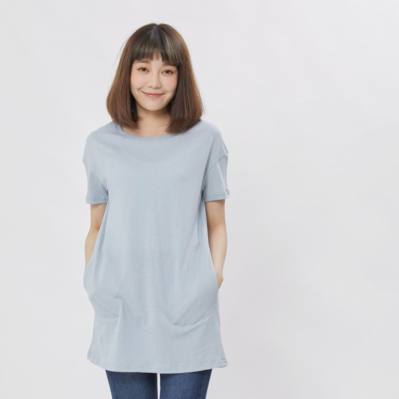 Dry hand feel fabric pocket dress tee /blue