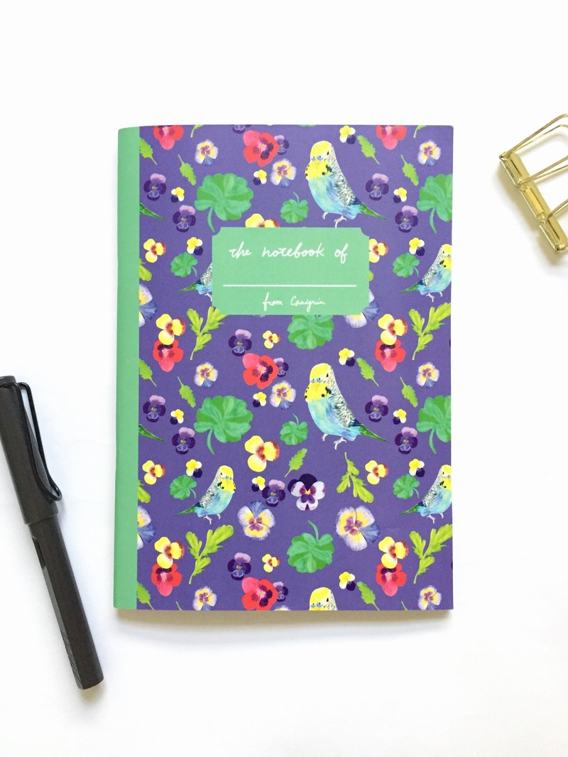 Pansy and Parrot Flower Bird Notebook Page Grid A5