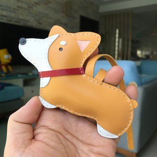 Handmade Leather Taiwan MIT Light Yellow Corgi Dog Handmade Leather Charm Large Size