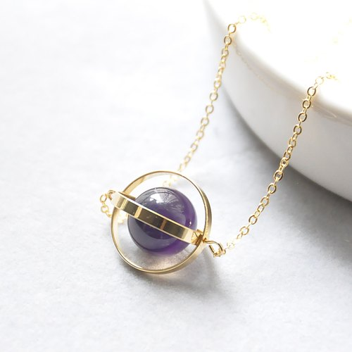 Romantic planet. universe. Golden Circle. Amethyst. Necklace Romance Planet. Galaxy. Golden Ring. Amethyst. Necklace. birthday present. Girlfriend gift. Sister gift