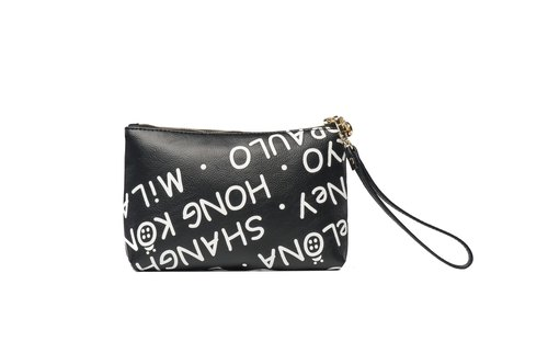 Mesheen Miss Shen deep black text printing simple hand purse
