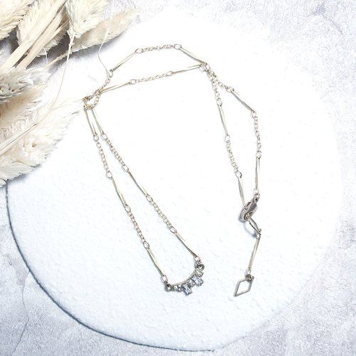 ♦ ViiArt ♦ Times ♦ Elegant Simple Zircon Brass Necklace Chainbone Chain Customized Gift
