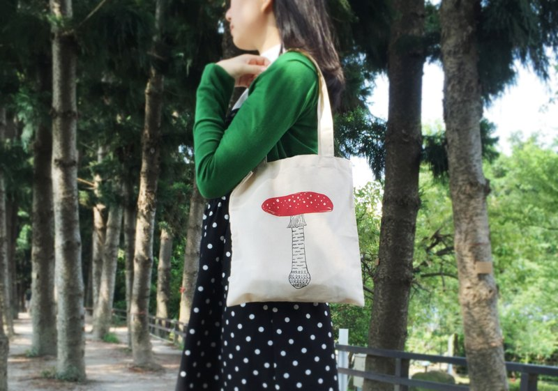 Purple mushroom canvas bag / two-color hand-printed silk