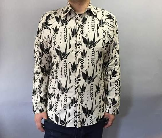 Long-sleeved shirt Japanese Pattern (paper cranes pattern) Unbleached
