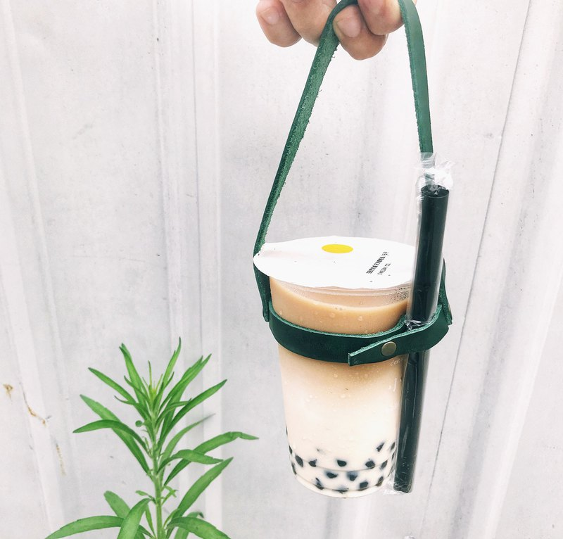 Sienna handmade leather eco-friendly take-away beverage bag
