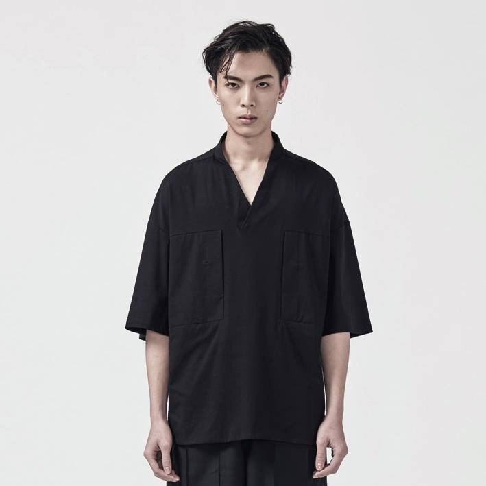 TRAN - Y collar wide sleeve double pocket shirt