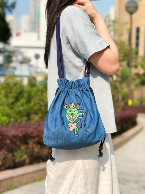 Embroidered Denim Drawstring Across-body Bag - Let's Dance Together