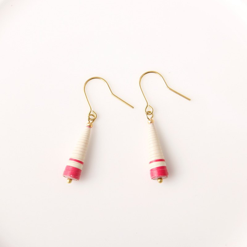 MUSEV Red Beige Striped Awl Earrings