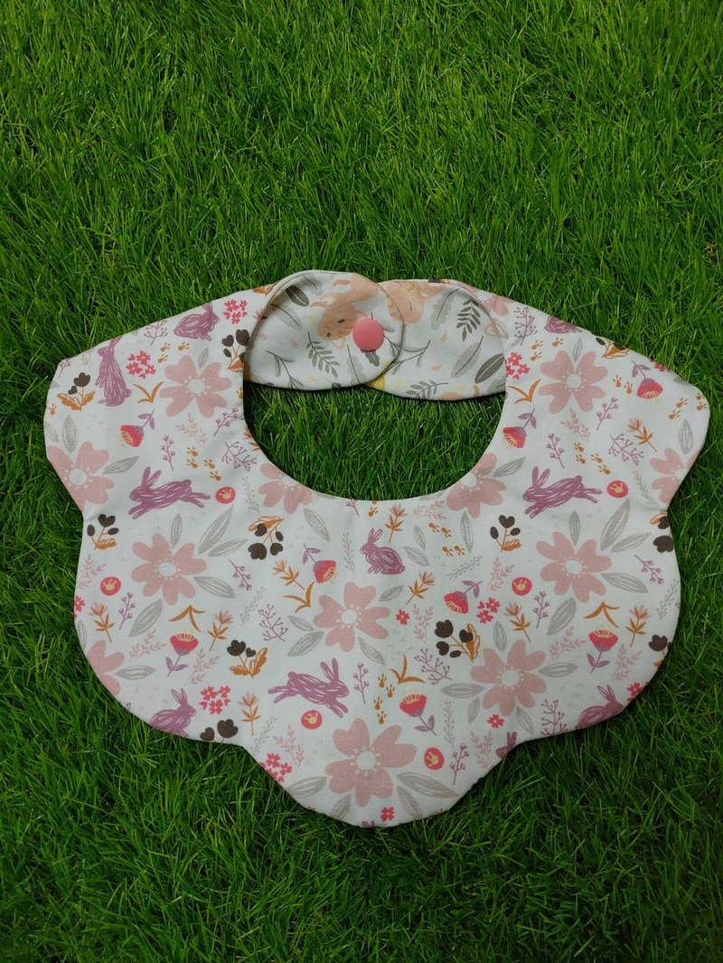 Flowerbed double-sided bib - purple bunny