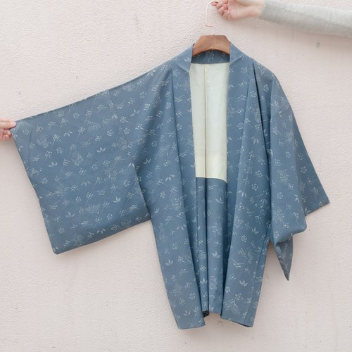 Vintage kimono / are blue silk small feather weaving