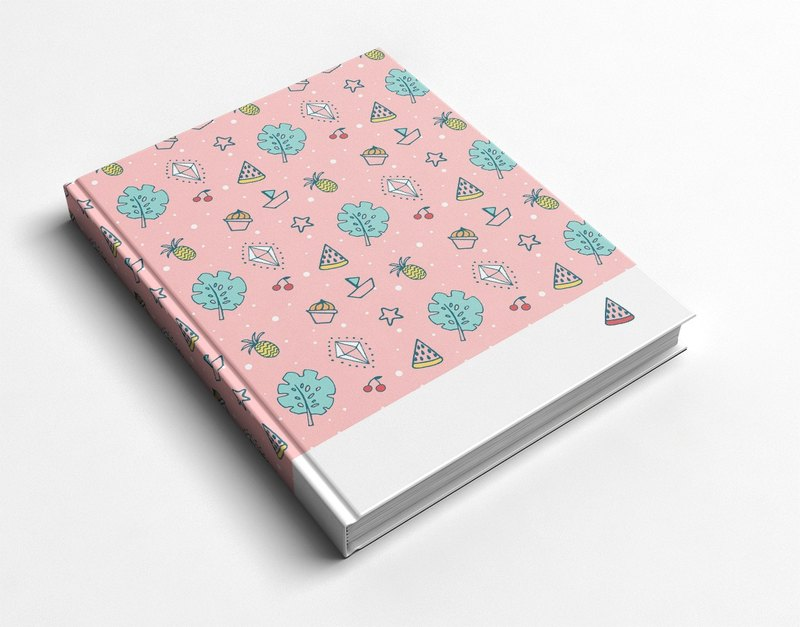 Rococo Strawberry WELKIN hand-made book / notebook / PDA / diary - summer fruit party